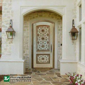 درب چوبی سنتی ورودی مسجد ،امامزاده،اماکن متبرکه صنایع چوب ساج مدل T10