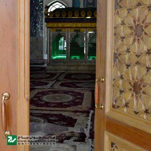 درب چوبی سنتی ورودی مسجد ،اماکن متبرکه،امامزاده صنایع چوب ساج مدل T10