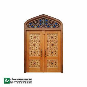 درب چوبی ورودی مسجد ،امامزاده،اماکن متبرکه صنایع چوب ساج مدل T10