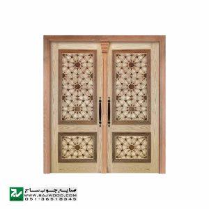 درب چوبی ورودی مسجد ،امامزاده،اماکن متبرکه سنتی صنایع چوب ساج مدل T10