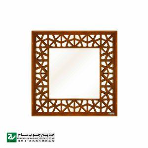 قاب آیینه دیواری چوبی سنتی دکوراتیو صنایع چوب ساج مدل 646