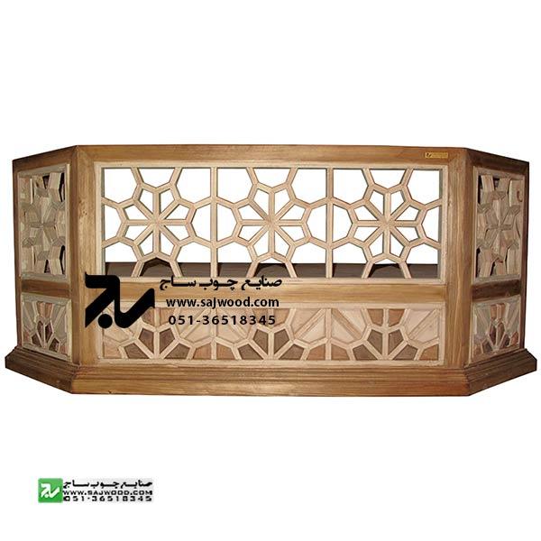 کرسی جایگاه قاری،قرائت، تلاوت قرآن چوبی سنتی گره چینی مشبک سمن کد 330