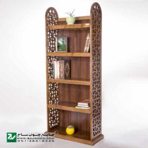 کتابخانه ، قفسه کتاب چوبی ، ویترین ، گنجه و دکور صنایع چوب ساج مدل 632
