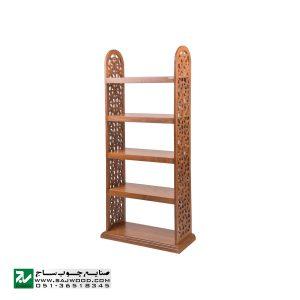 کتابخانه چوبی و ویترین ،گنجه ، دکور ، قفسه کتاب صنایع چوب ساج مدل 629