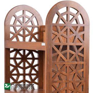 قفسه کتاب چوبی ، ویترین، کتابخانه و دکور صنایع چوب ساج مدل 632