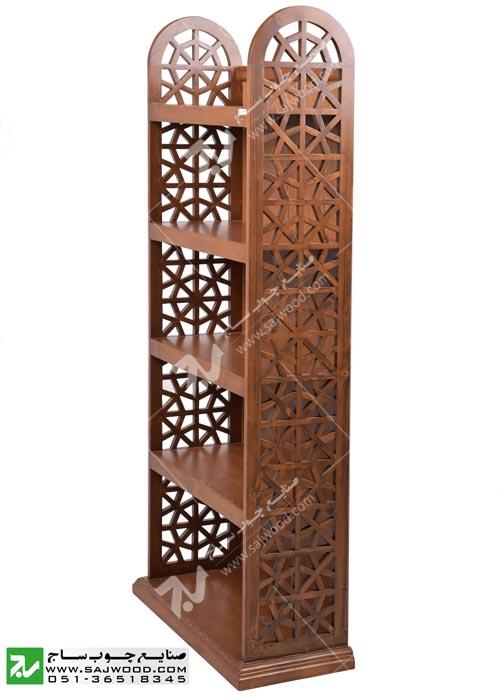 کتابخانه پشت چوب،ویترین،قفسه کتاب چوبی سنتی گره چینی مشبک آذین کد 632
