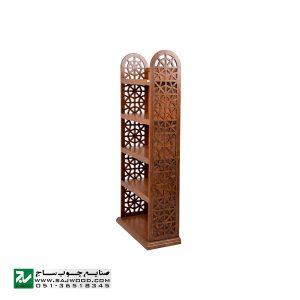 قفسه کتاب چوبی ، کتابخانه ، ویترین ، دکور و گنجه صنایع چوب ساج مدل 632