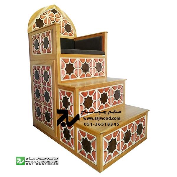 منبر سه پله مسجد،نمازخانه چوبی سنتی گره چینی |منبر مسجد|منبر نمازخانه