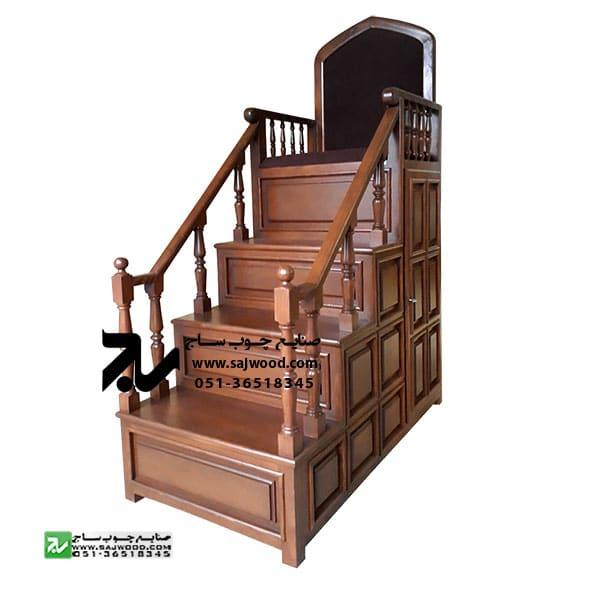 منبر چهار پله نمازخانه،مسجد،حسینیه چوبی سنتی قاب دار کد 113
