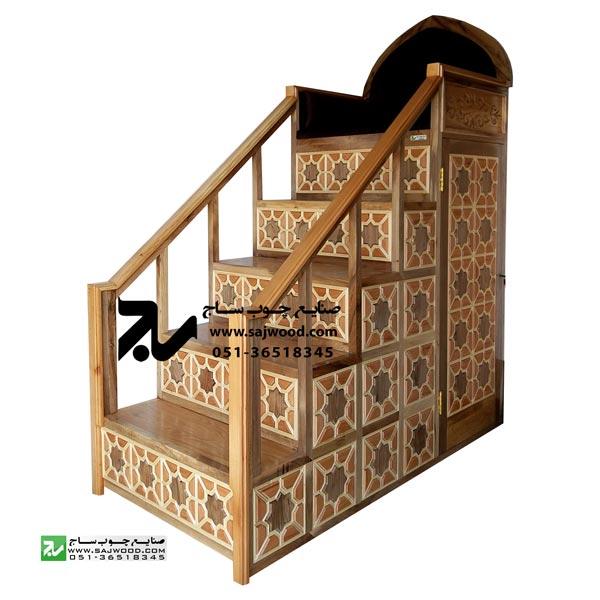 منبر پنج پله مسجد و اماکن مذهبی سنتی چوبی گره چینی شمس کد 115