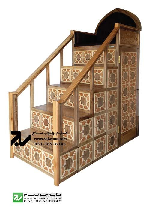 منبر پنج پله مسجد و اماکن مذهبی چوبی سنتی گره چینی شمس کد 115