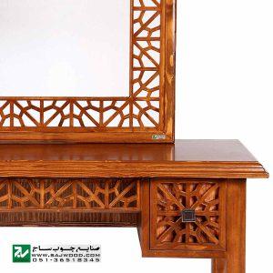 آیینه کنسول و میزآرایش سنتی چوبی دراور دکوراتیو صنایع چوب ساج مدل 312