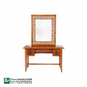 آیینه کنسول و میزآرایش چوبی سنتی دراور دکوراتیو صنایع چوب ساج مدل 312