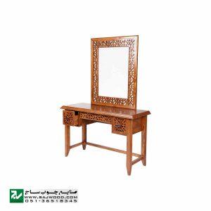 آیینه کنسول و میزآرایش سنتی دراور دکوراتیو صنایع چوب ساج مدل 312