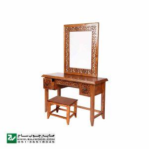 آیینه کنسول و میزآرایش چوبی دراور دکوراتیو صنایع چوب ساج مدل 312
