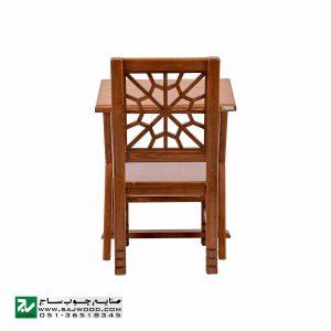 میز و صندلی چوبی نماز ، تحریر صنایع چوب ساج مدل 642