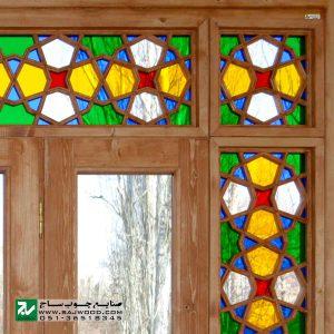 پنجره چوبی سنتی ارسی شیشه رنگی صنایع چوب ساج مدل W202