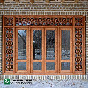 پنجره سنتی ارسی شیشه رنگی چوبی صنایع چوب ساج مدل W202