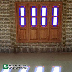پنجره شیشه رنگی ارسی سنتی چوبی صنایع چوب ساج مدل W203