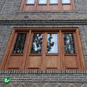 پنجره سنتی شیشه رنگی ارسی چوبی صنایع چوب ساج مدل W203