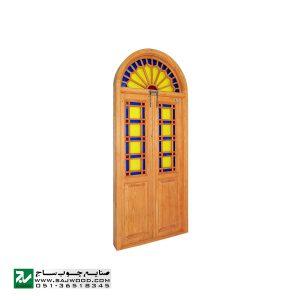 پنجره ارسی شیشه رنگی سنتی صنایع چوب ساج مدل W200