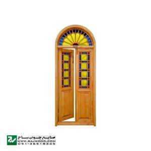 پنجره ارسی شیشه رنگی سنتی چوبی صنایع چوب ساج مدل W200