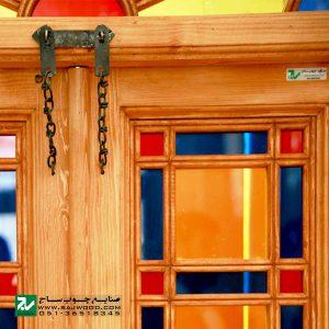 پنجره سنتی چوبی ارسی شیشه رنگی صنایع چوب ساج مدل W201
