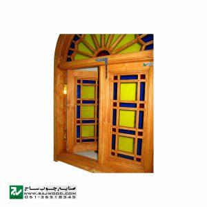 پنجره چوبی سنتی ارسی شیشه رنگی صنایع چوب ساج مدل W201