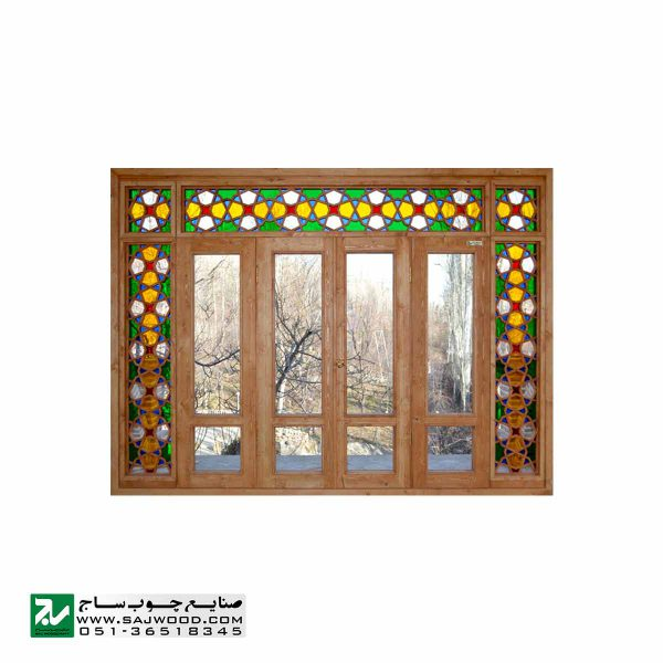 پنجره سنتی چوبی ارسی شیشه رنگی صنایع چوب ساج مدل W202