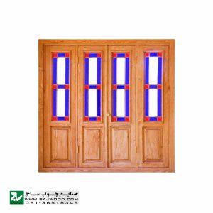 پنجره شیشه رنگی ارسی چوبی سنتی صنایع چوب ساج مدل W203