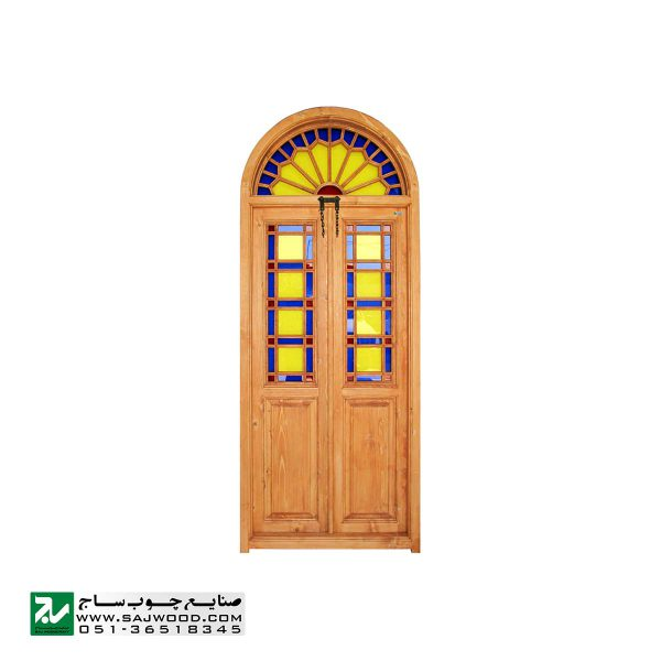 پنجره ارسی شیشه رنگی چوبی سنتی صنایع چوب ساج مدل W200