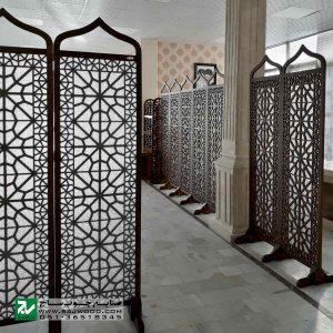 پارتیشن پاراوان شیشه رنگی سنتی متحرک صنایع چوب ساج مدل 507