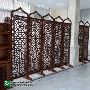 پارتیشن پاراوان شیشه رنگی سنتی متحرک چوبی صنایع چوب ساج مدل 507