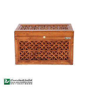 صندوقچه جواهرات چوبی و جعبه تزیینی سنتی صنایع چوب ساج مدل 609