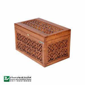 صندوقچه جواهرات چوبی و جعبه تزیینی صنایع چوب ساج مدل 609