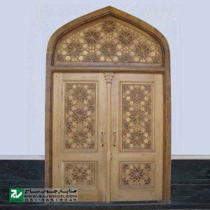 درب چوبی ورودی اماکن مذهبی ،مسجد،امامزاده سنتی صنایع چوب ساج مدل C10