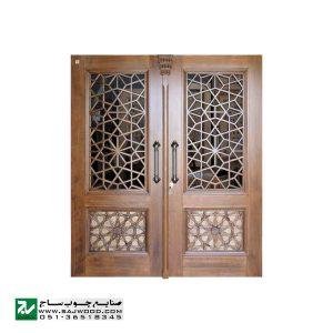 درب چوبی سنتی ورودی اماکن مذهبی ،مسجد،امامزاده صنایع چوب ساج مدل C10
