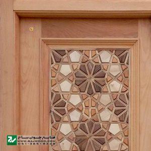 درب سنتی چوبی ورودی اماکن مذهبی ،مسجد،امامزاده صنایع چوب ساج مدل C10