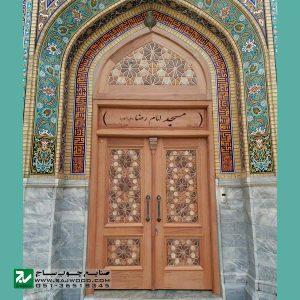درب چوبی ورودی اماکن مذهبی ،مسجد سنتی صنایع چوب ساج مدل C10