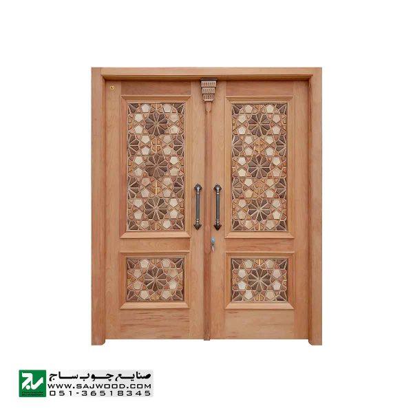 درب چوبی ورودی اماکن مذهبی ،مسجد،امامزاده صنایع چوب ساج مدل C10