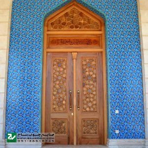درب چوبی سنتی ورودی حرم ،مسجد، امامزاده صنایع چوب ساج مدل L8