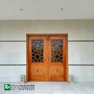 درب سنتی ورودی حرم ،مسجد، امامزاده چوبی صنایع چوب ساج مدل L8
