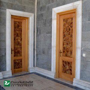 درب ورودی حرم ،مسجد، امامزاده چوبی صنایع چوب ساج مدل L8