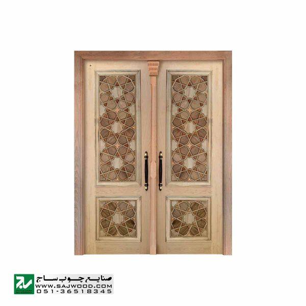 درب چوبی ورودی حرم ،مسجد، امامزاده سنتی صنایع چوب ساج مدل L8