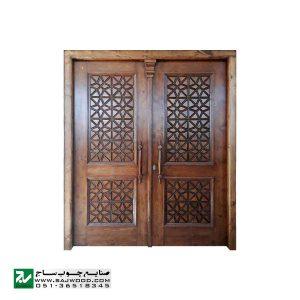 درب چوبی ورودی اماکن زیارتی ،مسجد،نمازخانه سنتی صنایع چوب ساج مدل M5