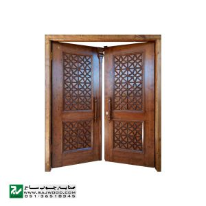 درب چوبی سنتی ورودی اماکن زیارتی ،مسجد،نمازخانه صنایع چوب ساج مدل M5