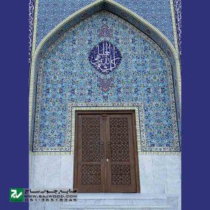 درب سنتی ورودی اماکن زیارتی ،مسجد،نمازخانه چوبی صنایع چوب ساج مدل M5