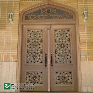 درب چوبی ورودی اماکن متبرکه ،مسجد،امامزاده صنایع چوب ساج مدل T10KH