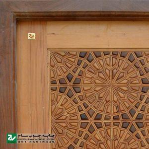 درب سنتی چوبی ورودی حسینیه ،مسجد، اماکن متبرکه صنایع چوب ساج مدل T12