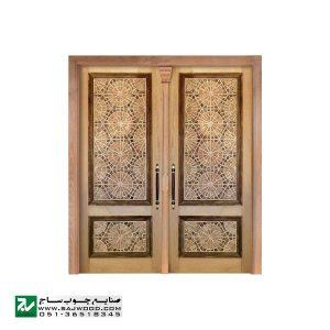 درب چوبی ورودی حسینیه ،مسجد، اماکن متبرکه سنتی صنایع چوب ساج مدل T12
